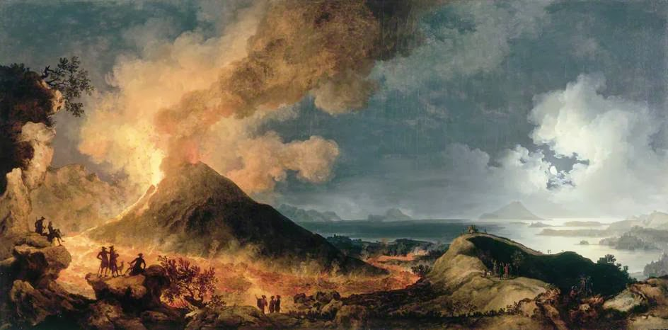Painting: The Eruption of Vesuvius, by Pierre-Jacques Volaire (1771). Public Domain