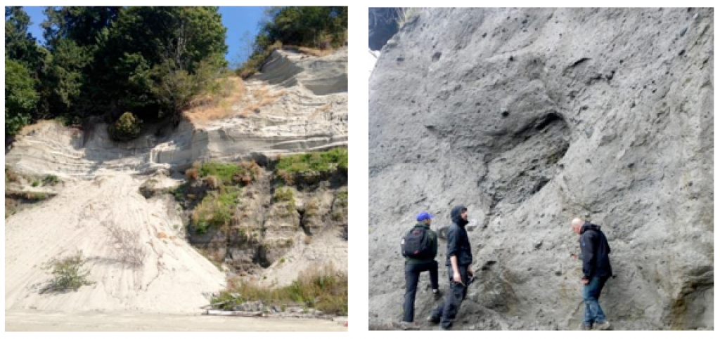 Left: Glacial outwash deposits at Point Grey, in Vancouver. The dark lower layer is made up of sand, silt, and clay. The light upper layer is well-sorted sand. Right: Glacial till on Quadra Island, B.C. The till is strong enough to have formed a near-vertical slope. [SE]