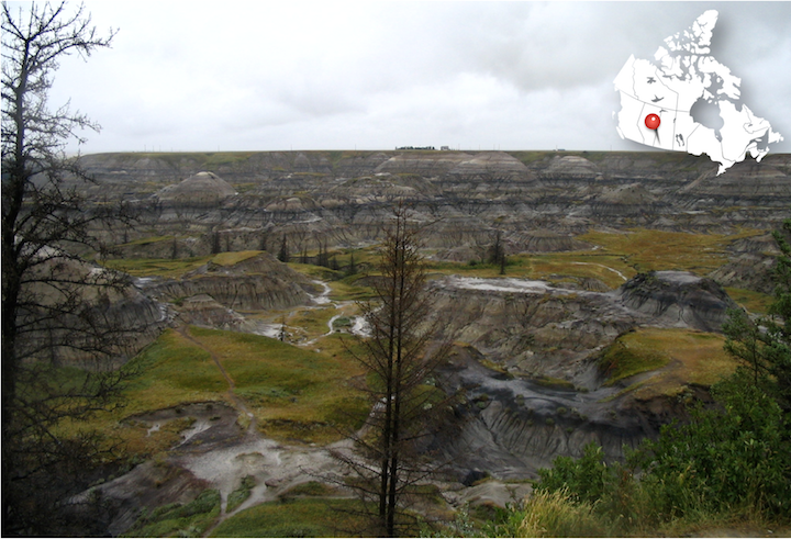 Badlands in southern Saskatchewan. Erosion has exposed layers of rock going back more than 65 million years.
