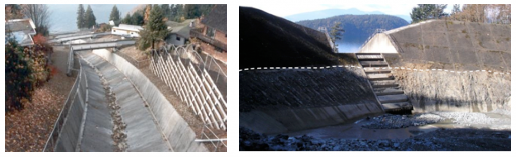 Figure 15.22 Two strategies for mitigating debris flows on the Sea-to-Sky Highway. Left: A concrete –lined channel on Alberta Creek allows debris to flow quickly through to the ocean. Right: A debris-flow catchment basin on Charles Creek. In 2010 a debris flow filled the basin to the level of the dotted white line. [SE]