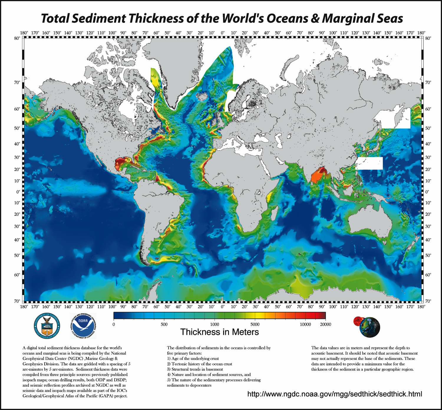 Figure 4.10 Map of global sediment thickness. [Source: NOAA, http://1.usa.gov/1Ywxxz6]