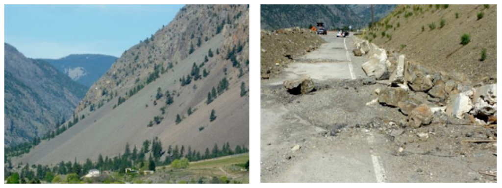 Figure 15.8 Left: A talus slope near Keremeos, B.C., formed by rock fall from the cliffs above. Right: The results of a rock fall onto a highway west of Keremeos in December 2014. [SE]