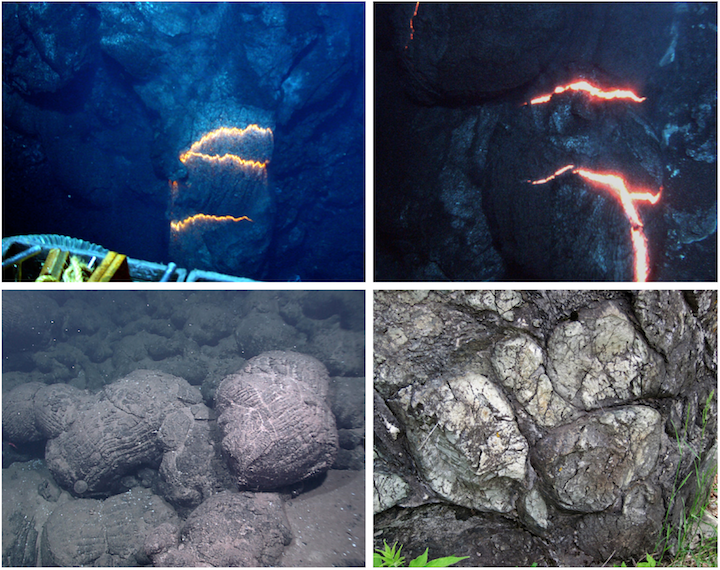 Pillow lavas. Top left: A tube of lava extruding underwater. Hot lava can be seen through cracks in the wall of the tube. The image is approximately 1 m across. (Pacific Ocean, near Fiji). Top right: The rounded end of a lava tube with cracks showing the lava within. (Pacific Ocean, near Fiji). Bottom left: sea floor covered with pillow lavas near the Galápagos Islands. Bottom right: A boulder made of 2.7 billion year old pillow lavas, derived from the Ely Greenstone in north-eastern Minnesota. Sources: Top left: NSF and NOAA (2010) CC BY 2.0; Top right: NSF and NOAA (2010) CC BY 2.0; Bottom left: NOAA Okeanos Explorer Program, Galápagos Rift Expedition 2011 (2011) CC BY 2.0; Bottom right: James St. John (2015) CC BY 2.0.