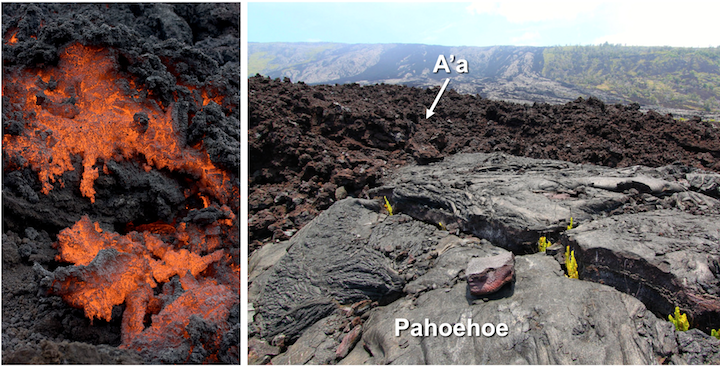 Aa lava flows. Left: Close-up view of aa forming during an eruption of Pacaya Volcano in Guatemala. Field of view approximately 1 m across. Right: Rubbly reddish-brown aa lava flow viewed from Chain of Craters Road, Hawai'i Volcanoes National Park. Pahoehoe is visible in the foreground. Sources: Photo of Hawaiian aa and pahoehoe: Roy Luck (2009) CC BY 2.0; Pacaya aa: Greg Willis (2008) CC BY-SA 2.0