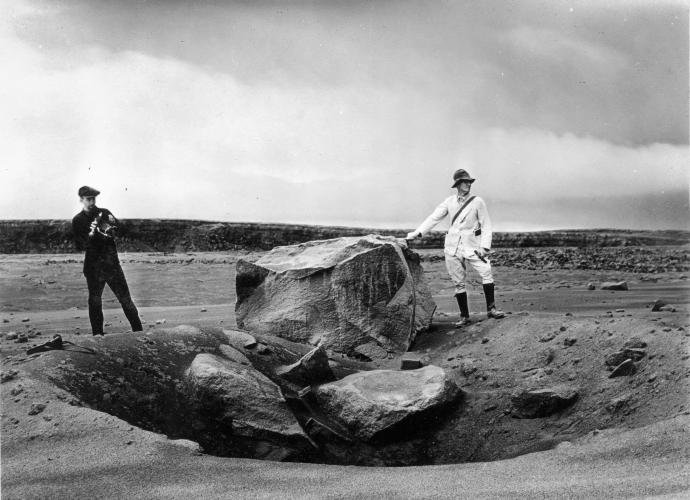 Volcanic block weighing approximately 7 tonnes thrown 1 km from the Halema'uma'u crater at Kīlauea Volcano on May 18, 1924. Source: U. S. Geological Survey (1924) Public Domain