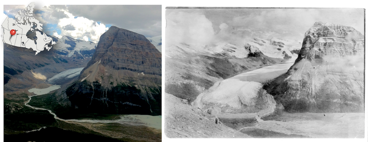 Rearguard Mountain and Robson Glacier in Mount Robson Provincial Park, BC. Left: Robson Glacier today, retreating up the valley. Right: Robson Glacier circa 1908 is much larger..