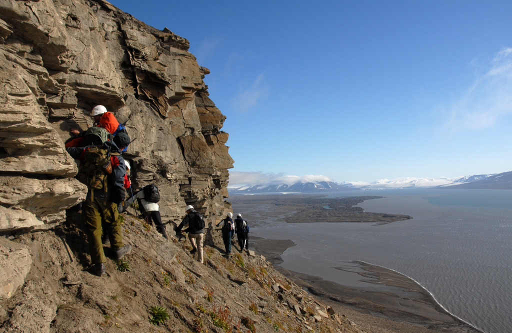 Geologists at work on the island of Spitsbergen, part of the Svalbard archipelago. The islands are located in the Arctic Ocean north of Norway.