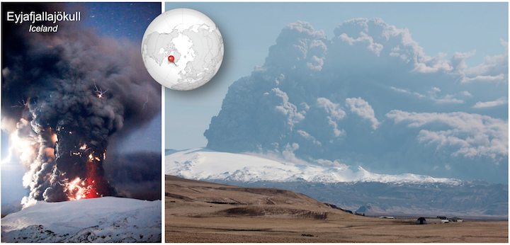 Figure 11-31 Hydrovolcanic eruption of Eyjafjallajökull in April of 2010. Left- Eruptive column with volcanic lightning. Volcanic lightning is caused by the static electricity generated by volcanic ash particles rubbing together. Right- Another view of the ash cloud, with westward winds carrying ash toward Europe where it would disrupt air traffic.