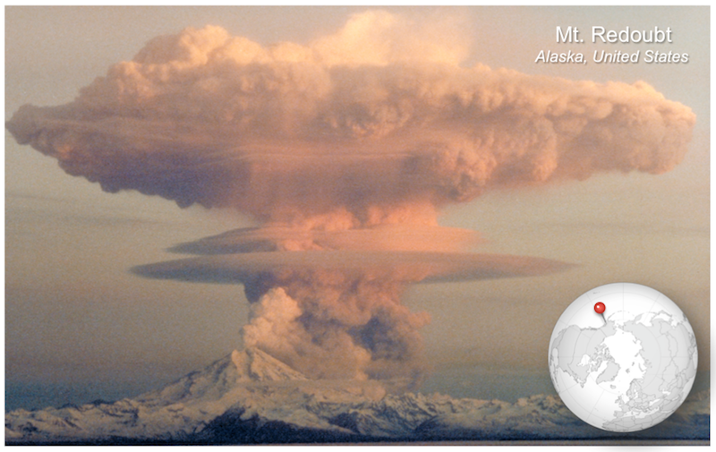 Plinian eruption of Mt. Redoubt in Alaska on April 21, 1990.