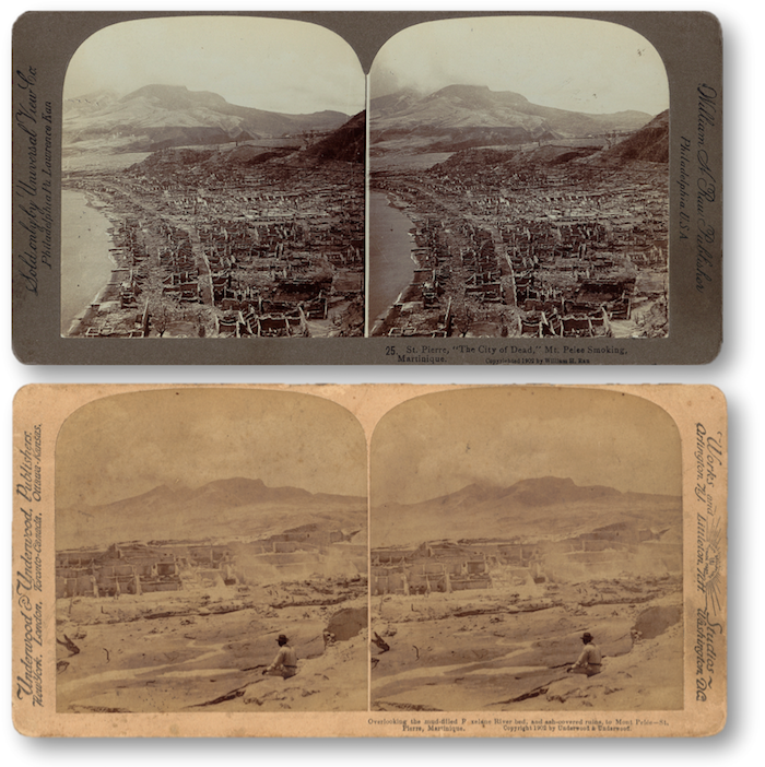 "Two stereographs of the ruins of St. Pierre, published in 1902. Stereographs are viewed with a stereoscope to make an image appear three dimensional. Top- ""St. Pierre, 'the city of dead,' Mt. Pelee smoking, Martinique""; Bottom- ""Overlooking the mud-filled Roxelane River bed, and ash-covered ruins, to Mont Pelée, St. Pierre, Martinique."""