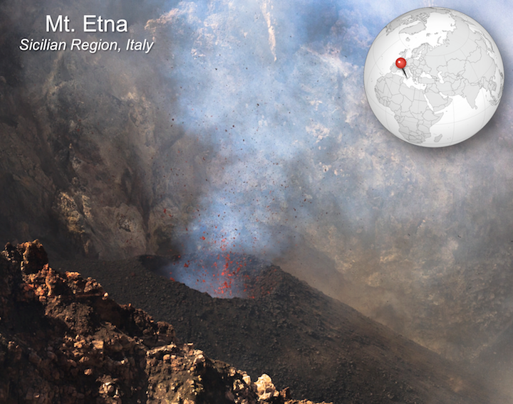Strombolian eruption of Mt. Etna. Sputtering lava forms a smaller cinder cone around a vent within the crater of Etna.