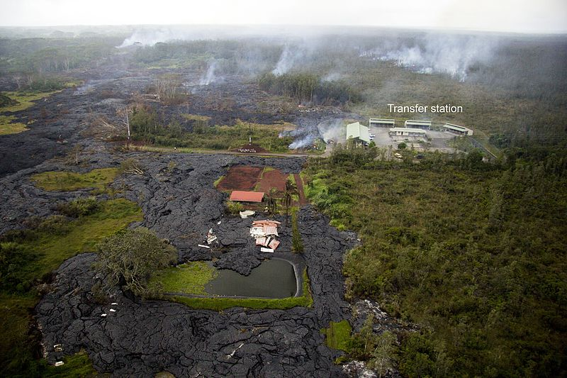 Lava flow from Kīlauea's Puʻu ʻŌʻō crater. Lava has destroyed a house and threatens a transfer station.