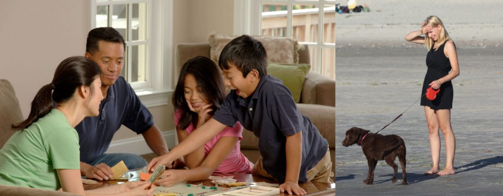 Photo 1: An Asian family plays a board game. Photo 2: A blonde woman stands alone with her dog.