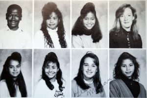 A high school yearbook shows a very similar hairstyle for nearly every young woman in the class..