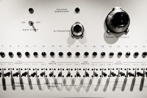 Close up of the controls of the shock machine used in the Milgram Experiment. The machine shows settings for 'strong shock', 'very strong shock', 'intense shock', 'extremely intense shock', and 'severe shock'.