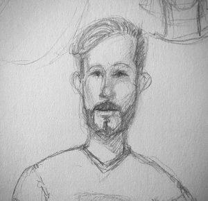 A pencil sketch self-portrait of a young man.