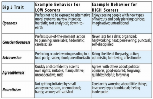 Example behavior for low scorers on Openness: Prefers not to be exposed to alternative moral systems; narrow interests; inartistic; not analytical; down-to-earth. Example behavior for high scorers on Openness: Enjoys seeing people with new types of haircuts and body piercing; curious; imaginative; untraditional. Example behavior for low scorers on Conscientiousness: Prefers spur of the moment action to planning; unreliable; hedonistic; careless; lax. Example behavior for high scorers on Conscientiousness: Never late for a date; organized; hardworking; neat; persevering; punctual; self-disciplined. Example behavior for low scorers on Extraversion: Preferring a quiet evening reading to a loud party; sober; aloof; unenthusiastic. Example behavior for high scorers on Extraversion: Being the life of the party; active; optimistic; fun-loving; affectionate. Example behavior for low scorers on Agreeableness: Quickly and confidently asserts own rights; irritable; manipulative; uncooperative; rude. Example behavior for high scorers on Agreeableness: Agrees with others about political opinions; good-natured; forgiving; gullible; helpful. Example behavior for low scorers on Neuroticism: Not getting irritated by small annoyances; calm, unemotional; hardy; secure; self-satisfied. Example behavior for high scorers on Neuroticism: Constantly worrying about little things; insecure; hypochondriacal; feeling inadequate.