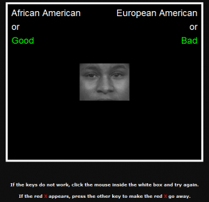 A screenshot shows a portion of the Implicit Associations Test. At the center a photo of a black man's face, from just above the eyebrows to just above the mouth, can be seen. At the top left corner the words 'African American or Good' appear. At the top right the words 'European American or Bad' appear. At the bottom of the screen the following instructions appear, 'If the keys do not work, click the mouse inside the white box and try again. If the red X appears, press the other key to make the red X go away.'