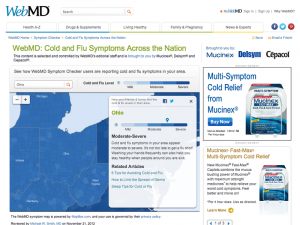 An example page of the website WebMD offering information about cold and flu season.