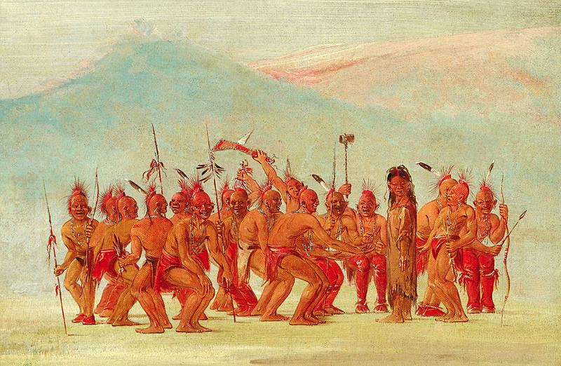 A painting of a ceremonial dance