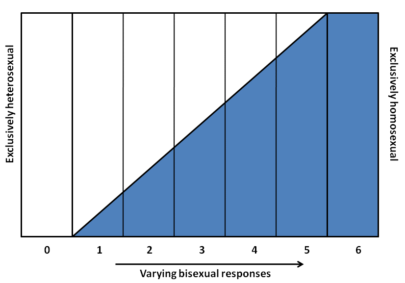 A scale from 0-6 with 0 being exclusively heterosexual and 6 being exclusively homosexual.