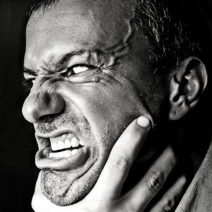 A man's angry face.