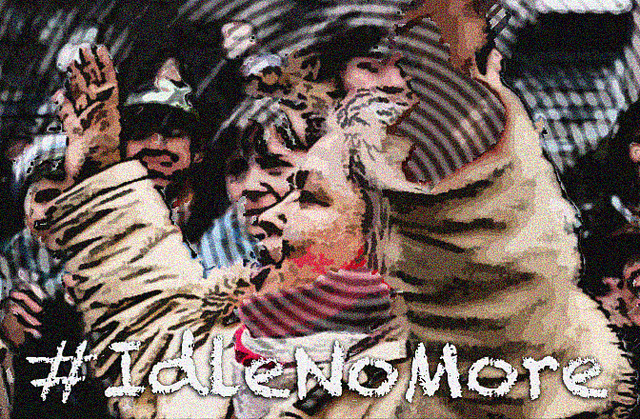 """A picture of a woman with her hands up yelling with the hashtag """"idle no more"""""""