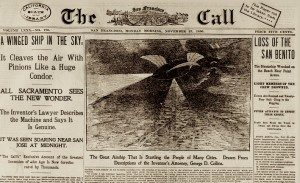 Front page of a newspaper showing a winged ship.