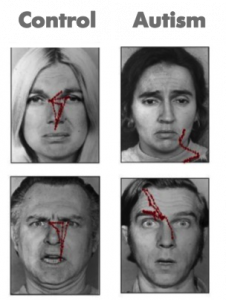 Four faces are displayed each with red lines showing patterns of eye movements. The faces observed by study participants without autism show red lines in a roughly triangular pattern from the eyes to the mouth. The faces shown to participants with autism show lines with no discernible pattern and not focused near the eyes or mouth.